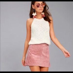 PINK SUEDE MINI SKIRT High rise, Size Small Lulus